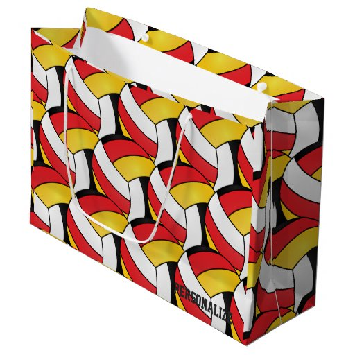 Red, Gold, White and Black Volleyballs 2 Large Gift Bag