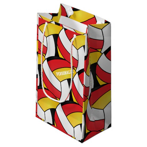 Red, Gold, White and Black Volleyballs Small Gift Bag