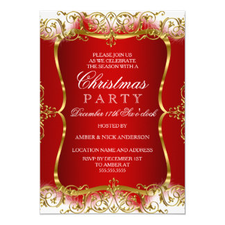 Red Gold White Damask Christmas Party Invite