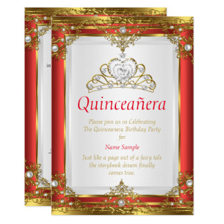 Red Gold White Pearl Princess Quinceanera Card