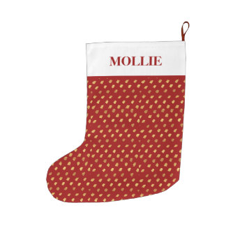 Red Gold White Personalized Christmas Holiday Large Christmas Stocking