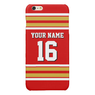 Red Gold White Team Jersey Custom Number Name Glossy iPhone 6 Plus Case