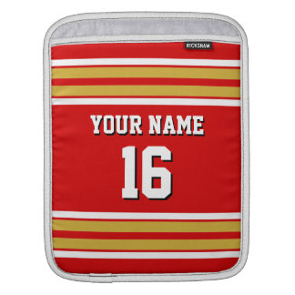 Red Gold White Team Jersey Custom Number Name iPad Sleeve