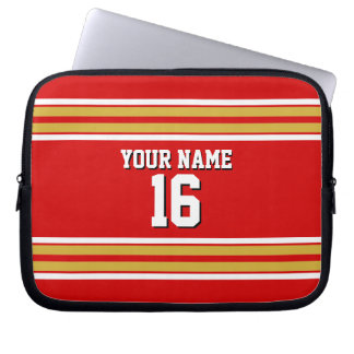 Red Gold White Team Jersey Custom Number Name Laptop Sleeve