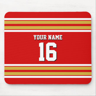 Red Gold White Team Jersey Custom Number Name Mouse Pad