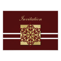 red gold winter wedding Invitation cards