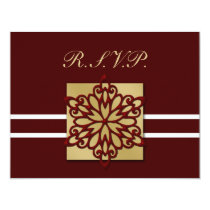 red gold winter wedding rsvp cards
