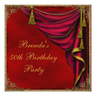 Red Gold Womans Gold 50th Birthday Party Personalized Invite