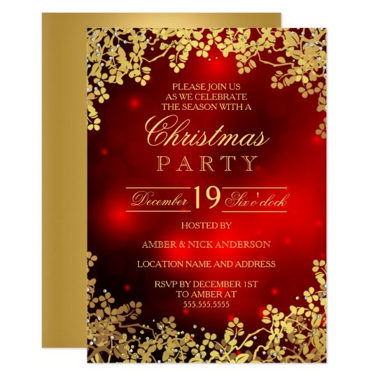 Christmas Invitation Background Gold.Red Gold Wreath Christmas Party Invitation