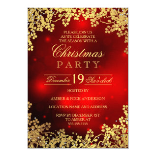 Red Gold Wreath Christmas Party Invitation at Zazzle