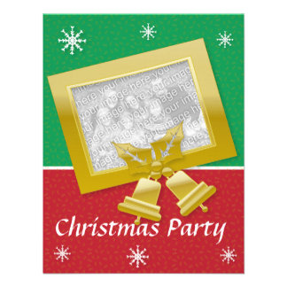 Red gold Xmas party invite customizable photo