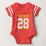 Red Gold Yellow Football Jersey Sports Baby Romper