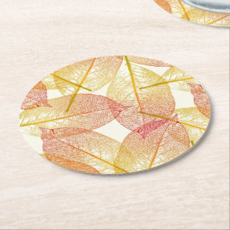 Red Gold Yellow Leaves Autumn Season Pattern Round Paper Coaster