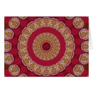 Red Gold Yellow rosettes Mandala Card