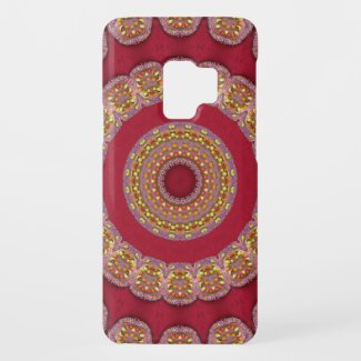 Red Gold Yellow rosettes Mandala Case-Mate Samsung Galaxy S9 Case