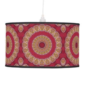 Red Gold Yellow rosettes Mandala Ceiling Lamp
