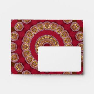 Red Gold Yellow rosettes Mandala Envelope