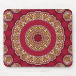 Red Gold Yellow rosettes Mandala