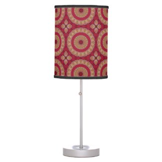 Red Gold Yellow rosettes Mandala Table Lamp