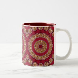 Red Gold Yellow rosettes Mandala Two-Tone Coffee Mug