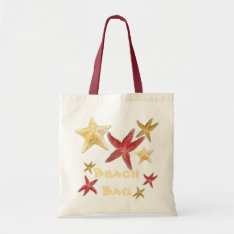Red Gold Yellow Starfish Beach Bag In Canvas at Zazzle