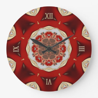 Red Golden Country Lace Home Decor Wall Clock