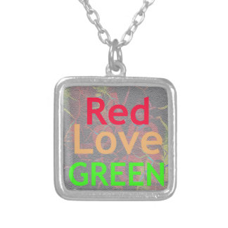 RED GOLDEN GREEN ONE LOVE SILVER PLATED NECKLACE