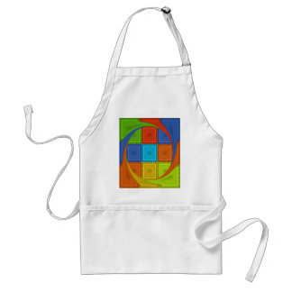 Red Golden Green square  Curve Adult Apron