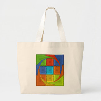 Red Golden Green square  Curve Large Tote Bag