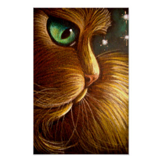 "RED GOLDEN PERSIAN CAT HOLIDAY 11""X17"" POSTER"