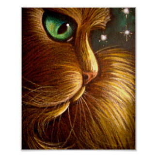 "RED GOLDEN PERSIAN CAT HOLIDAY 8""X10"" Poster"