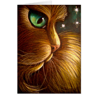 RED GOLDEN PERSIAN CAT HOLIDAY Card
