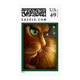 RED GOLDEN PERSIAN CAT - HOLIDAY Postage