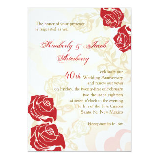 Red & golden roses 40th Wedding Anniversary Invite