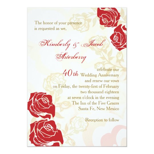 Red Golden Roses 40th Wedding Anniversary Invite