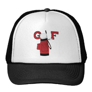 Red Golf Bag Golf Trucker Hat