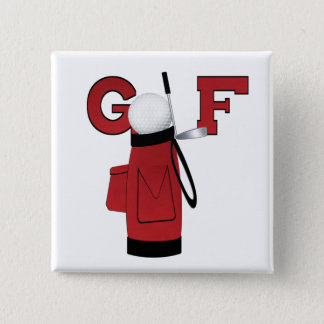 Red Golf Bag Golf T-shirts and Gifts Pinback Button