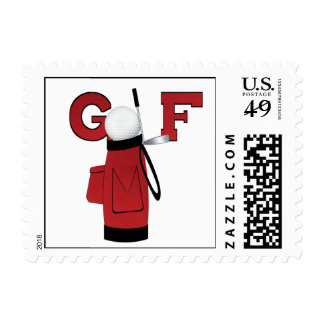 Red Golf Bag Golf T-shirts and Gifts Stamp