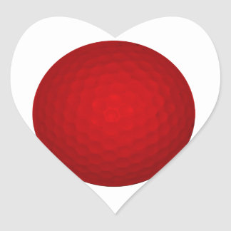 Red Golf Ball Heart Sticker