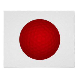 Red Golf Ball Poster