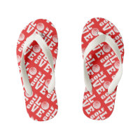 Red Golf Love Print Kid's Flip Flops