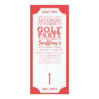 Red Golf Ticket Golf Birthday Party Invitation