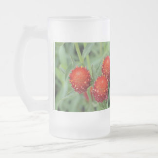 Red Gomphrena Flowers Frosted Beer Mugs