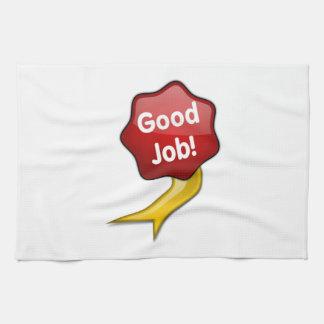 Red Good Job Ribbon Kitchen Towel