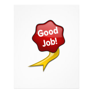 Red Good Job Ribbon Letterhead