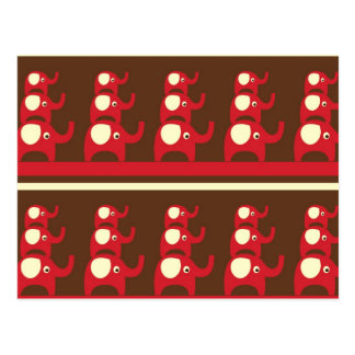 Red good luck elephants pattern print postcard