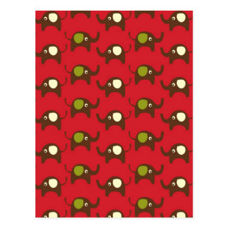 Red good luck elephants pattern print postcards