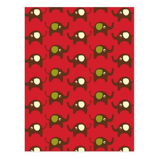 Red good luck elephants pattern print postcard