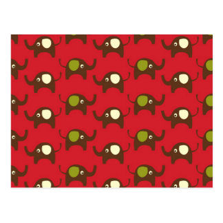 Red good luck elephants pattern print post cards