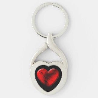 Red Goth Heart Keychain